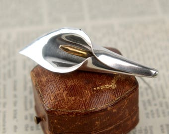 vintage sterling cala lily brooch Laton Mexico silver taxco mixed metal mid century modern 1950s