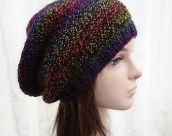 BLACK Rainbow textured slouchy beanie S M L by irish granny unique hand knit hat cap