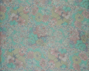 "Pastel Watercolor Floral Sheer Silk Scarf Large 36"" Square Scarf"