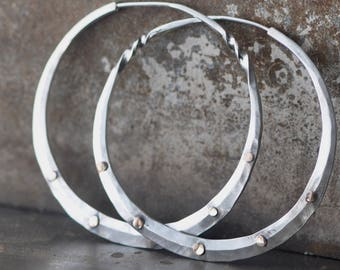 silver hoops with 5 rose gold rivets, 14k gold sterling silver hoop earrings large, with a twist, large round loops