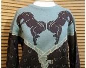 "Vintage Equestrian Bucking Bronco Wool Blend Italian ""St. Moritz"" Unisex Pullover Sweater"