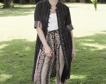 Long Cotton Print Front Open Cover up Jacket  Jacquard sleeves