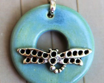 Ocean Dragonfly Clasp - Jewelry Clasp - Circle Ceramic Toggle Clasp