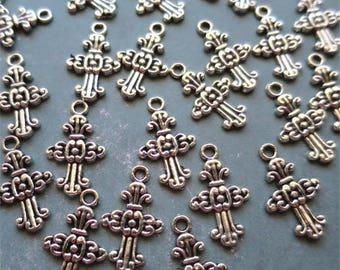 Crosses charms silver tone
