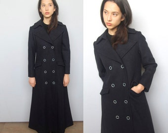 we learned the sea -- vintage 60's classic long deep navy sailor coat size S