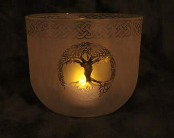 Tree of Life Celtic Etched Oval Candle holder or Vase
