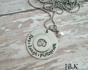 JBK Live Laugh Photograph hand stamped necklace