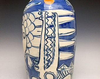 Alligator, Pelican,Fish With Sun Dot; Contemporary Hand Thrown Stoneware Vase; Island Style