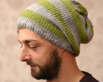 """Mens Grey and Meadow Green Knitted Oversized Slouchy Beanie,  Heads 22"""" - 24"""""""