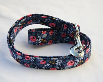 Rifle Paper Floral on Blue - Traffic Leash Medium to Large Breed Dogs