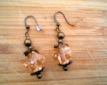 Antique Gold & Peach Drop Earrings, Pierced, Romantic, Hippie, Boho, Handcrafted, Antique Look