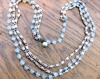 Vintage Multi-Chain Silvertone Necklace w/ Pale Blue-Green Beads - Triple-Strand Mid-Century Fashion Necklace - Glass or Plastic Beads