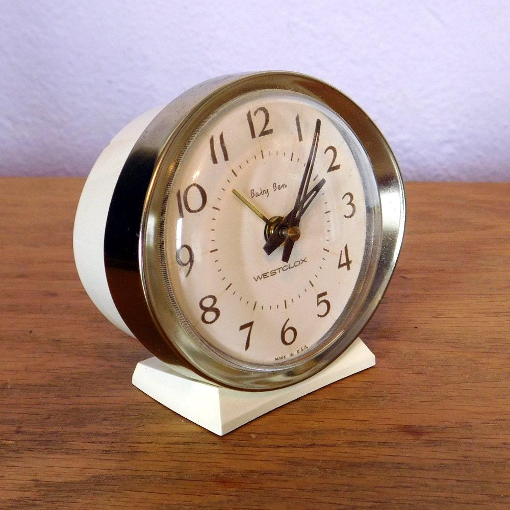 Vintage Westclox Baby Ben Wind Up Alarm Clock 1960s 1970s