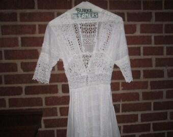Antique Edwardian Beautiful Fine White Linen Drawnwork Lace Dress