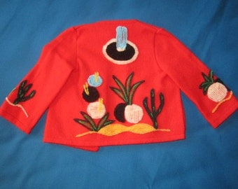 Vintage 1950s/60s Perfect Little Child Size Mexican Style Red Wool Jacket