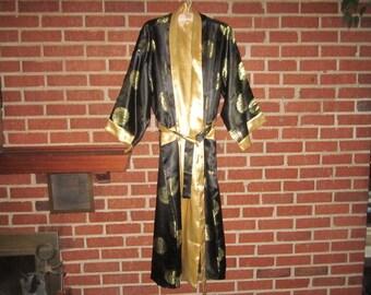 Vintage Gorgeous Gold on Black Chinese Silk Satin Gentleman's Lounging Robe