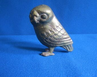 Vintage Little Cast Brass Miniature Owl Figure as found
