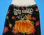 Thanksgiving hand towel,   hanging dish towel,  double towel, crocheted top towel,