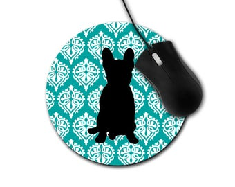 French Bulldog Round Mouse Pad, Frenchie Custom Mouse Pad, French Bulldog Gift, Dog Lover Gift, Computer Mouse Pad, Vintage Damask Mouse Pad