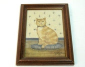 Folk Art Cat Theorem Painting, Stencil Painting On Velvet, Artist Marilyn Brock