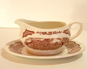 Alfred Meakin Brown Fair Winds Gravy Boat and Dish