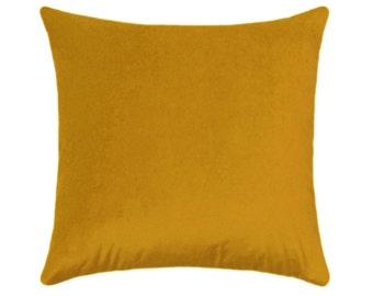 Yellow Velvet STUFFED Pillow, Golden Yellow Velvet Accent Pillow, Obsession Sunshine Yellow Toss Pillow,  Designer Velvet Pillow - Free Ship