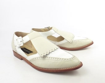 White Loafers Shoes Vintage 1990s Spectator Leather Kenneth Cole Women's size 8