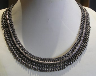 Art Deco Necklace . Ball Bead . Tribal Sterling Silver .  India . 79 grms