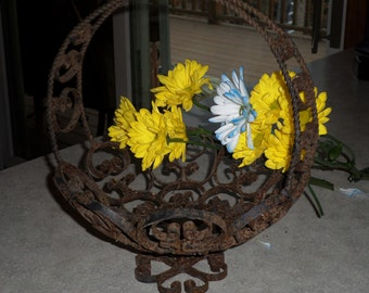 ornate antique hand wrought turned metal BASKET with pedestal foot primitive flower planter centerpiece holder