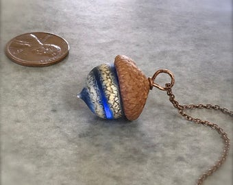 Glass Acorn Necklace - Etched Silvered Spiral Blue - by Bullseyebeads
