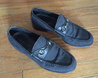 Vintage Gucci Black Monogram Loafers, Sz 37 US 7