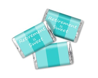 Teal Two Tune Retirement Mini Candy Bar Wrappers - Instant Download - Retirement Is Sweet Chocolate Bar Favors