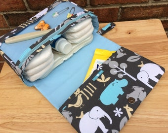 New and larger safari diaper bag with clear zipper pouch, animal nappy bag, grey and blue diaper purse, baby boy gift for new parents