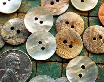 Seashell buttons, Mother of Pearl, 20 count, 5/8 inch, Natural shell buttons, 15mm, 2 hole, nacre buttons, sewing, crafting, scrapbook