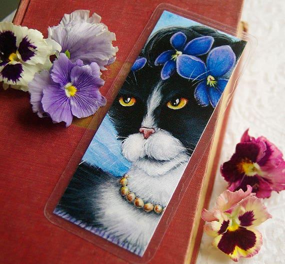 Tuxedo Cat Bookmark, Violet Flower Cat Art Bookmark