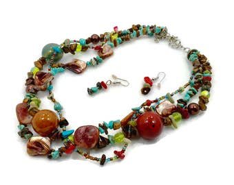 Turquoise Necklace, Mixed Stones, Rainbow, Earrings, Set, Shell, Glass, Tiger Eye, Ceramic, Multi Strand, Big Statement, Beaded, Boho