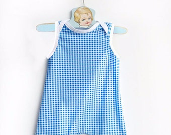 Vintage Style Blue and White Gingham Baby Swimsuit, Retro Baby Boy Swimming Suit, Infant One Piece, Boys Swimwear, Swim Trunks