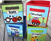 Spring SALE 4 Kids Toy Fabric Bins Boys Girls Balls Cars Trucks Trains Art Supplies Bedroom Baby Nursery Organizer for Toys or Clothing 4FB0