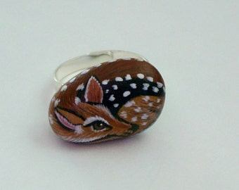 Mothers Day gifts miniature deer fawn adjustable silver ring OOAK 3D gift idea under 40 painted pet rocks whitetail fawn Mystic Farm Rescue