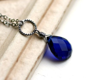 """Cobalt Blue Quartz Necklace on Oxidized Sterling Silver - """"Aegean"""" by CircesHouse on Etsy"""