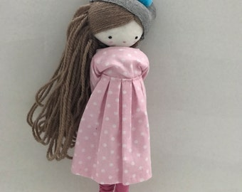 Handmade rag doll , Laia- ooak cloth art rag doll polka dots dress, hat and socks toys for girls made to order