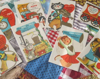 Eight Adorable Vintage Unused Childrens Valentines with Envelopes