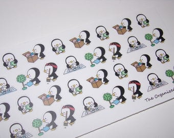 34 Random Chore Penguin Stickers / Great for your Erin Condren Life Planner!