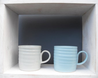 2x Medium Coffee Mugs in Pale Blue and Creamy Bluey White