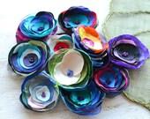 Fabric flowers, applique grab bag , handmade organza appliques, floral embellishments (12 pcs)- Grab Bag in Assorted Colors (mix set 357)