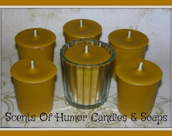 HONEY & MIMOSA Scented Votive Candles - Plumeria - Red Apple - Apricot - Lily - High Fragrance Scented Gift Boxed Set Of 6 - Handmade USA