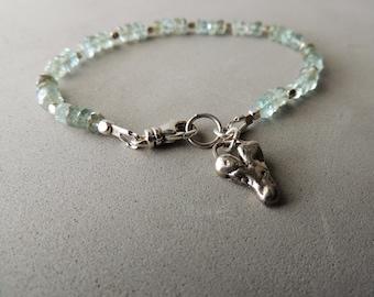 Aquamarine Bracelet, Silver Heart Charm, March Birthstone, Moss Aquamarine, Urban Chic Jewelry, Stacking Bracelet, Artisan Jewelry