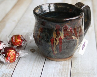 Rustic Pottery Mug in Earthy Shades of Gray and Black Glazes and Red Accent Handmade Stoneware Coffee Cup Made in USA FREE Shipping