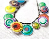 Rainbow necklace - Statement necklace - Geometric necklace - Multicolored Jewelry (BN001)