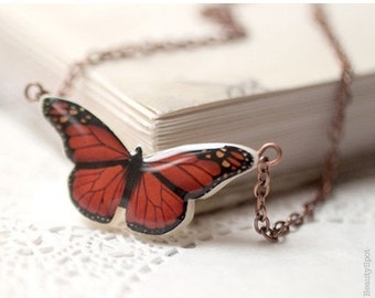 Red Butterfly necklace - Red butterfly wings - Red necklace - Red butterfly pendant - Insect jewelry - Nature necklace (N039)